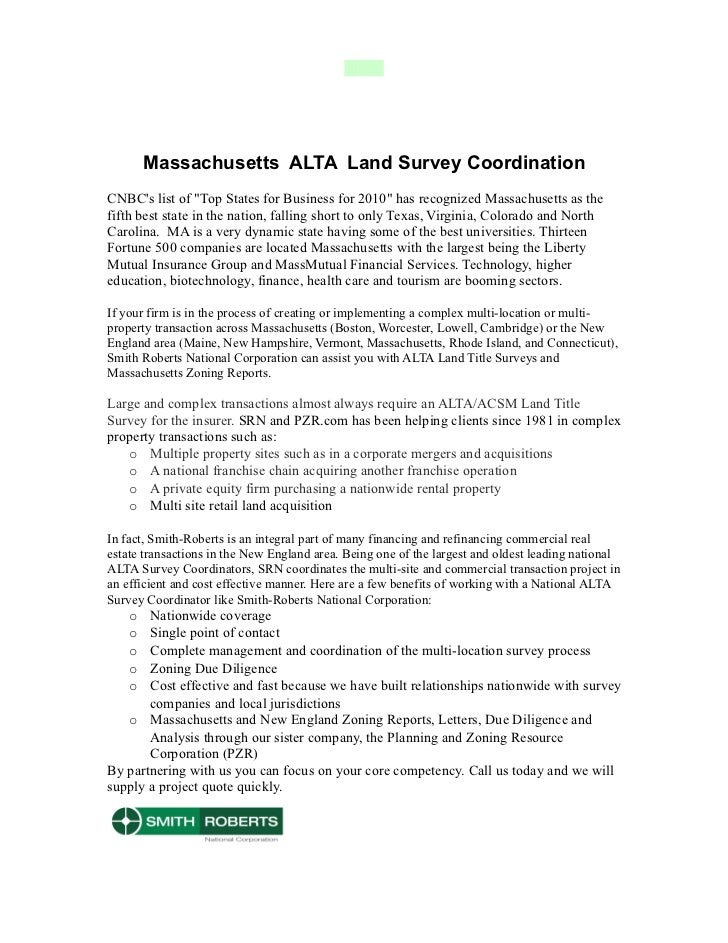 "Massachusetts ALTA Land Survey CoordinationCNBCs list of ""Top States for Business for 2010"" has recognized Massachusetts a..."