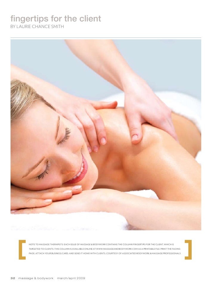 Massage and body image  march april 2009