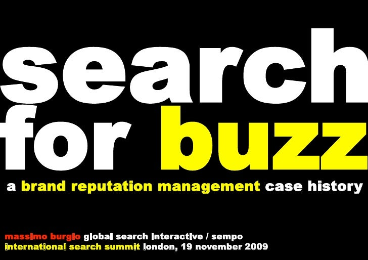 search for buzz a brand reputation management case history   massimo burgio global search interactive / sempo internationa...