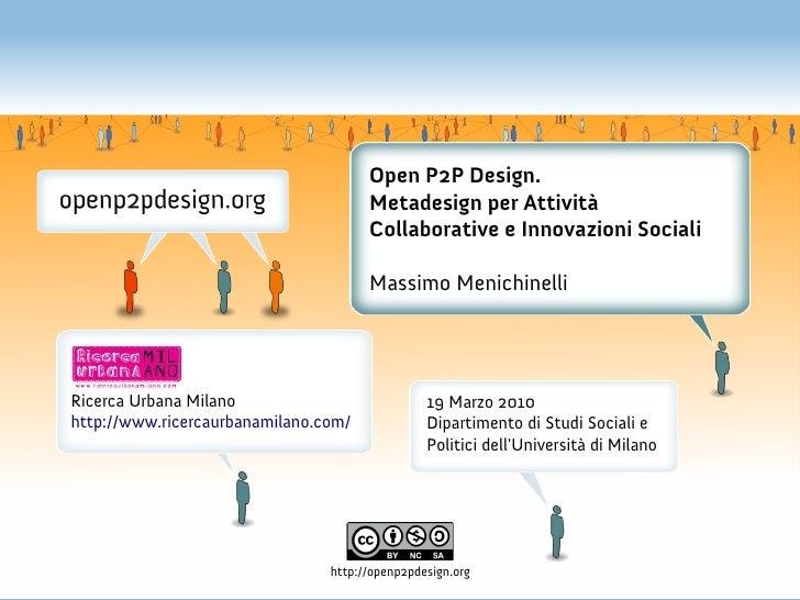 Open P2P Design. Metadesign per Attività Collaborative e Innovazioni Sociali