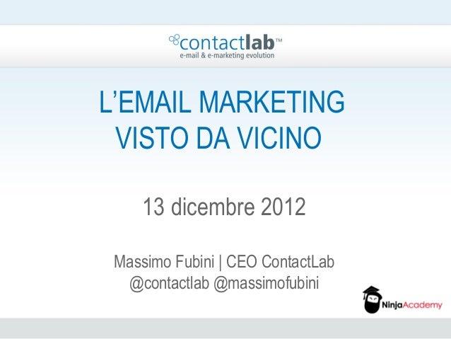 L'EMAIL MARKETING  VISTO DA VICINO    13 dicembre 2012 Massimo Fubini | CEO ContactLab  @contactlab @massimofubini