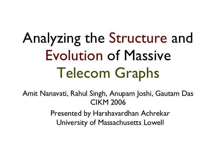 Analyzing the  Structure  and  Evolution  of Massive  Telecom Graphs <ul><li>Amit Nanavati, Rahul Singh, Anupam Joshi, Gau...