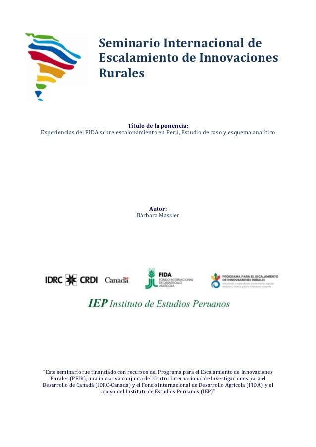 Experiencias del FIDA sobre escalonamiento en Perú, Estudio de caso y esquema analítico