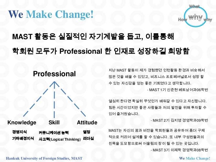 We Make Change!   MAST 활동은 실질적인 자기계발을 돕고, 이를통해   학회원 모두가 Professional 한 인재로 성장하길 희망함                                      ...