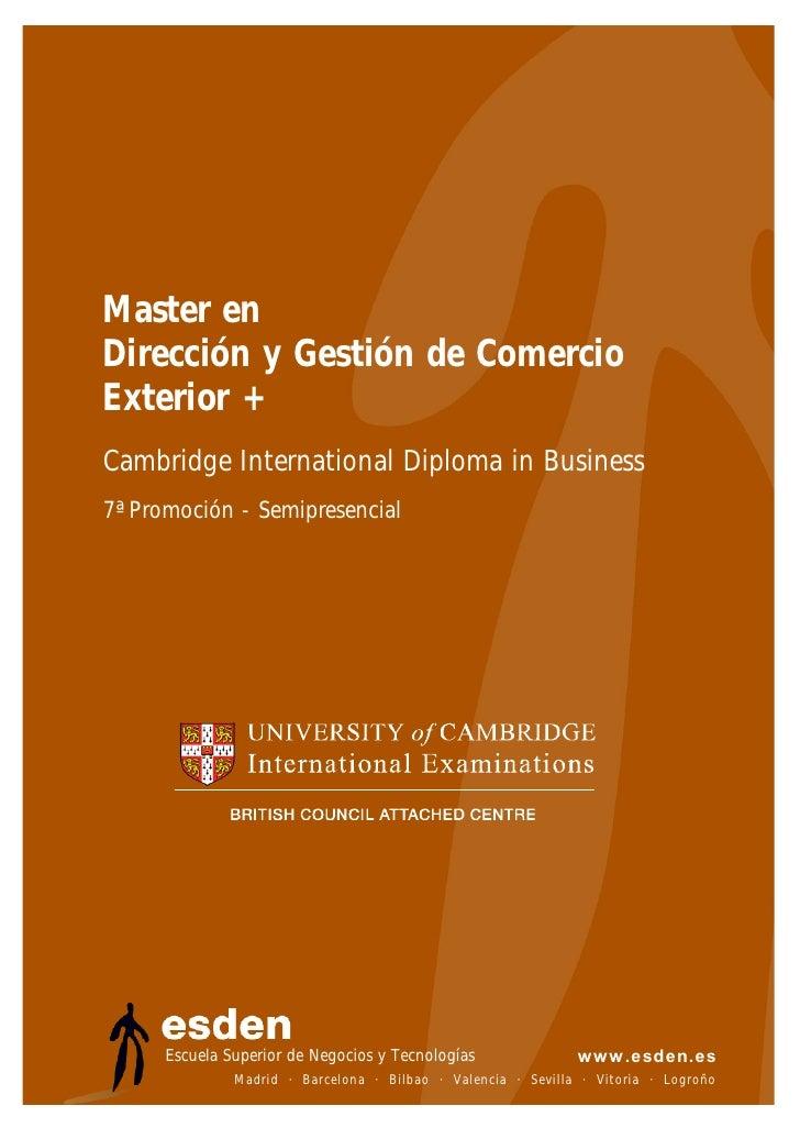Master en Dirección y Gestión de Comercio Exterior