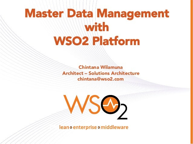 Master Data Management using WSO2 Platform