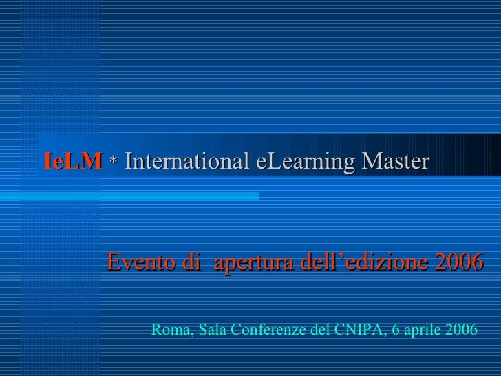 Master Degree in International eLearning Management