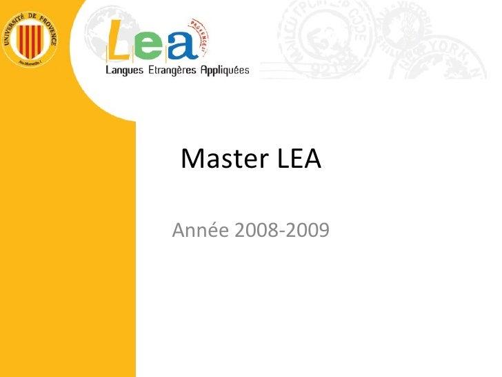 Master LEA Année 2008-2009