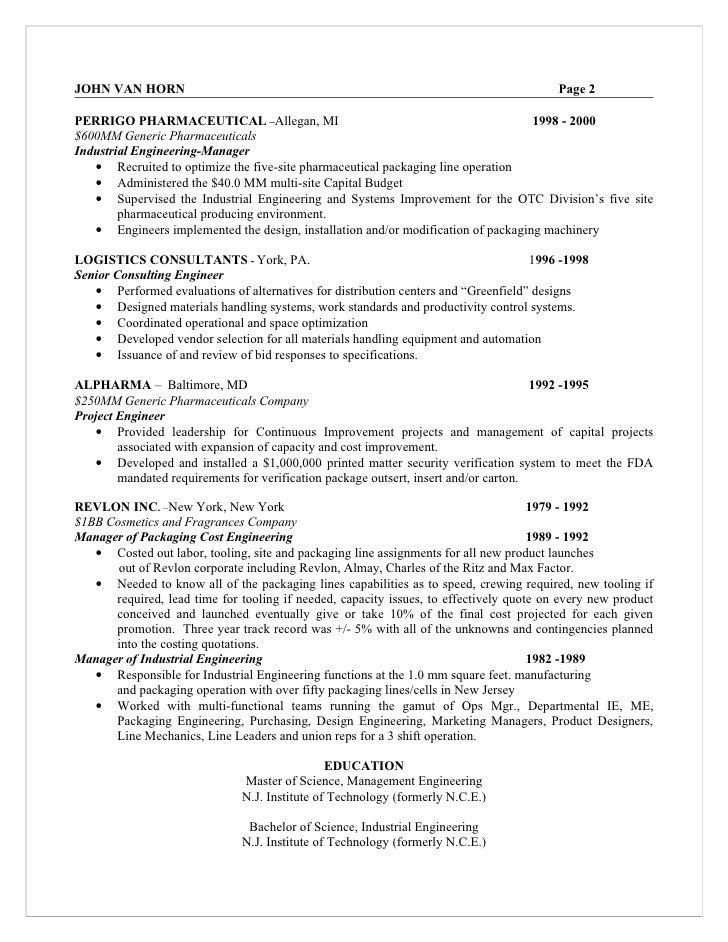 Pharmaceutical process engineer resume
