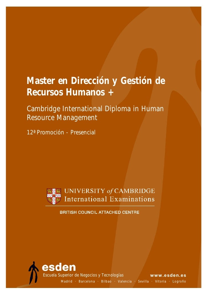 Master en Dirección y Gestión de Recursos Humanos + Cambridge International Diploma in Human Resource Management 12ª Promo...