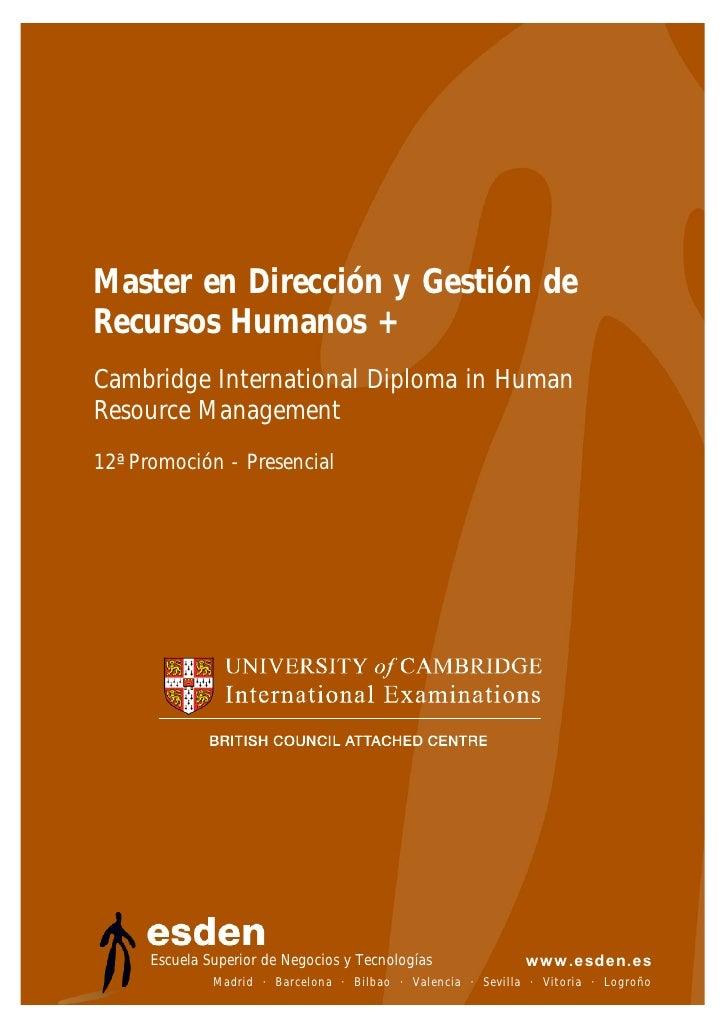 Master en Dirección y Gestión de RRHH - Presencial