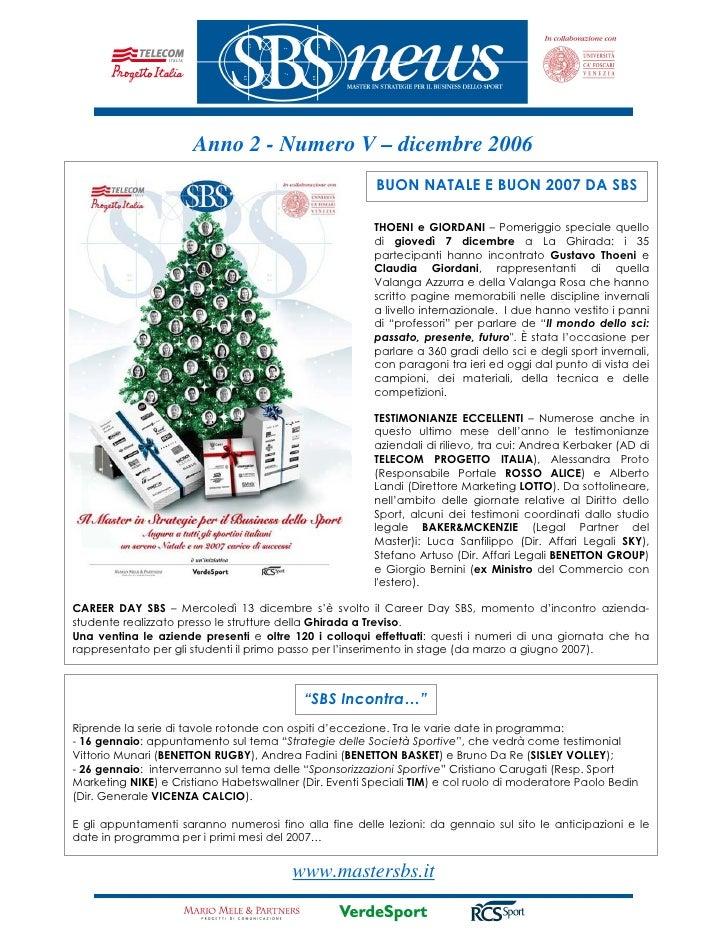Master in Strategie per il Business dello Sport - newsletter Dicembre2006