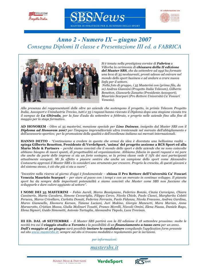 Master in Strategie per il Business dello Sport - newsletter Giugno2007