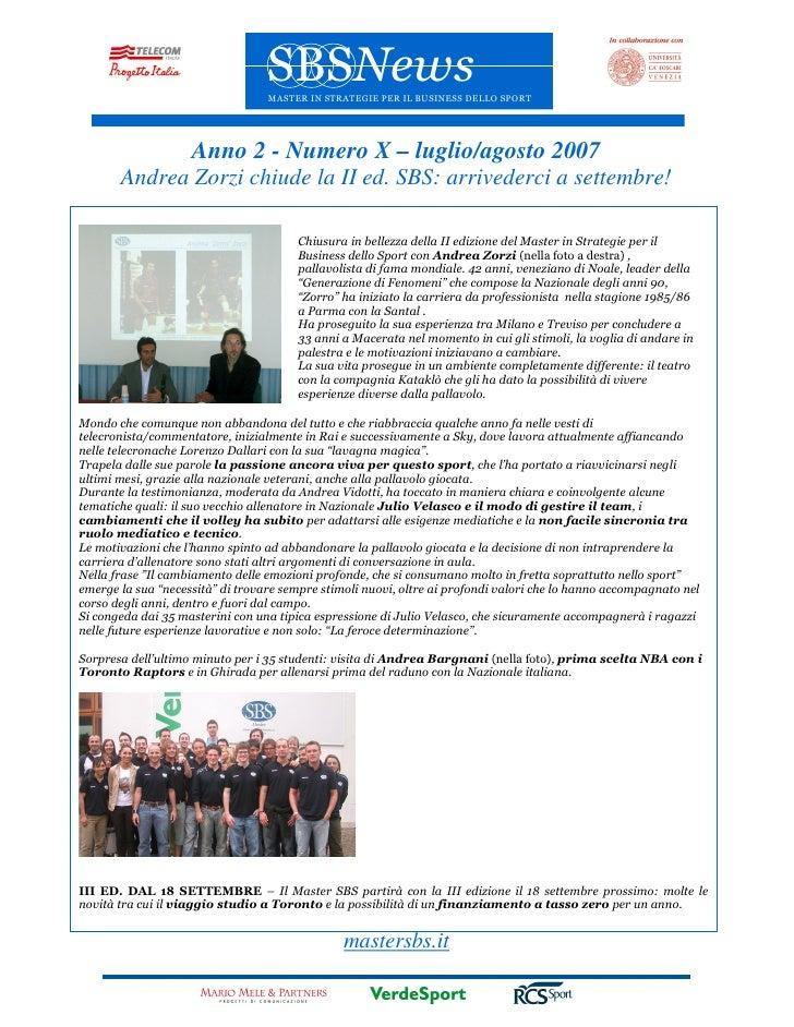 SBSNews                                   MASTER IN STRATEGIE PER IL BUSINESS DELLO SPORT                         Anno 2 -...