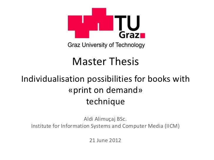 Master ThesisIndividualisation possibilities for books with             «print on demand»                  technique      ...