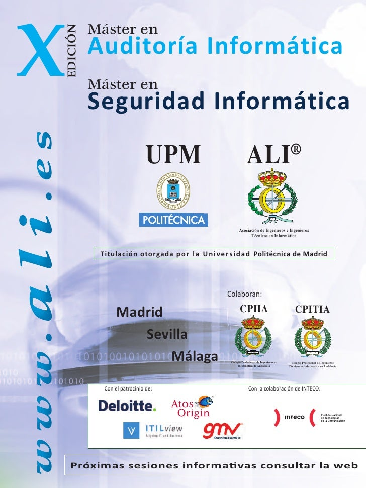 X                     Máster en            EDICIÓN                     Auditoría Informática                     Máster en...