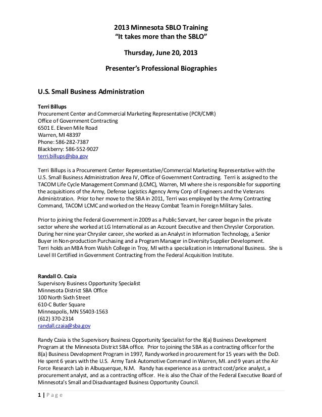 "1   P a g e 2013 Minnesota SBLO Training ""It takes more than the SBLO"" Thursday, June 20, 2013 Presenter's Professional Bi..."
