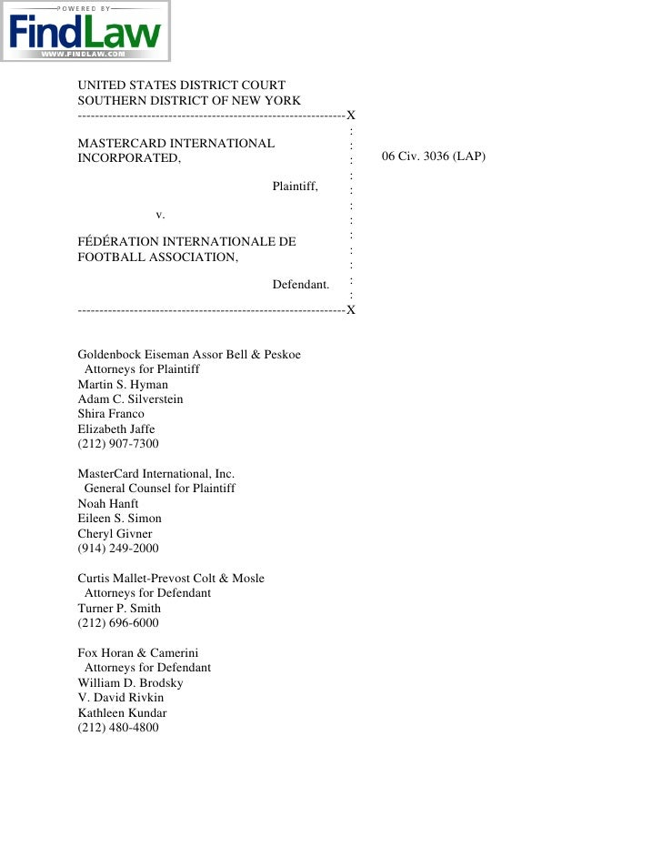 UNITED STATES DISTRICT COURT SOUTHERN DISTRICT OF NEW YORK --------------------------------------------------------------X...