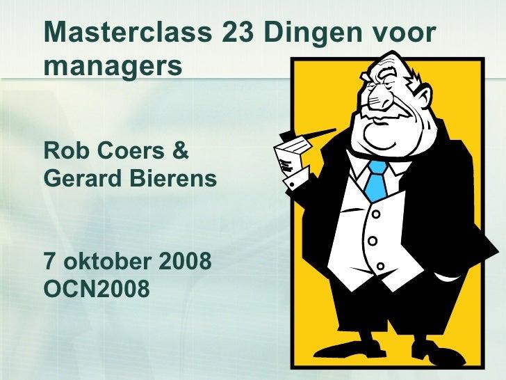 Masterclass 23dingen Voor Managers