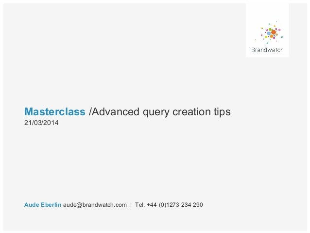 Advanced Query Creation Tips