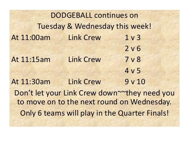 DODGEBALL continues on Tuesday & Wednesday this week! At 11:00am Link Crew 1v3 2v6 At 11:15am Link Crew 7v8 4v5 At 11:30am...