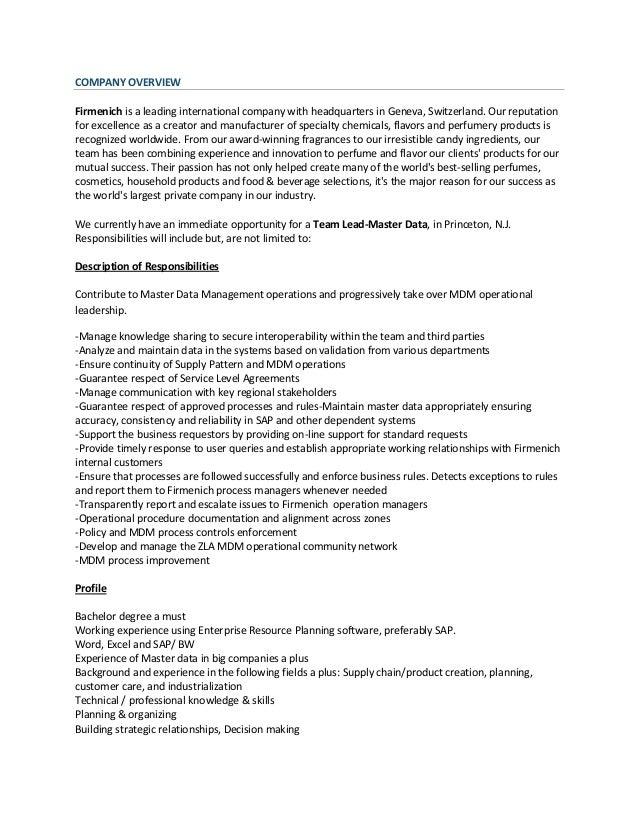 master data management lead princeton nj email resume