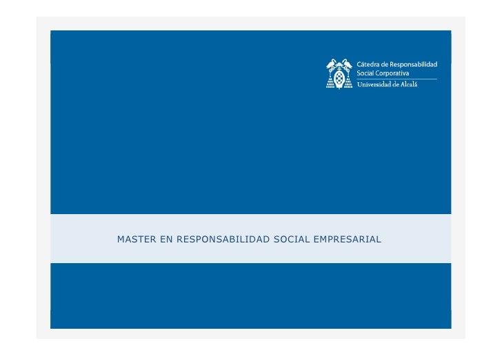 MASTER EN RESPONSABILIDAD SOCIAL EMPRESARIAL