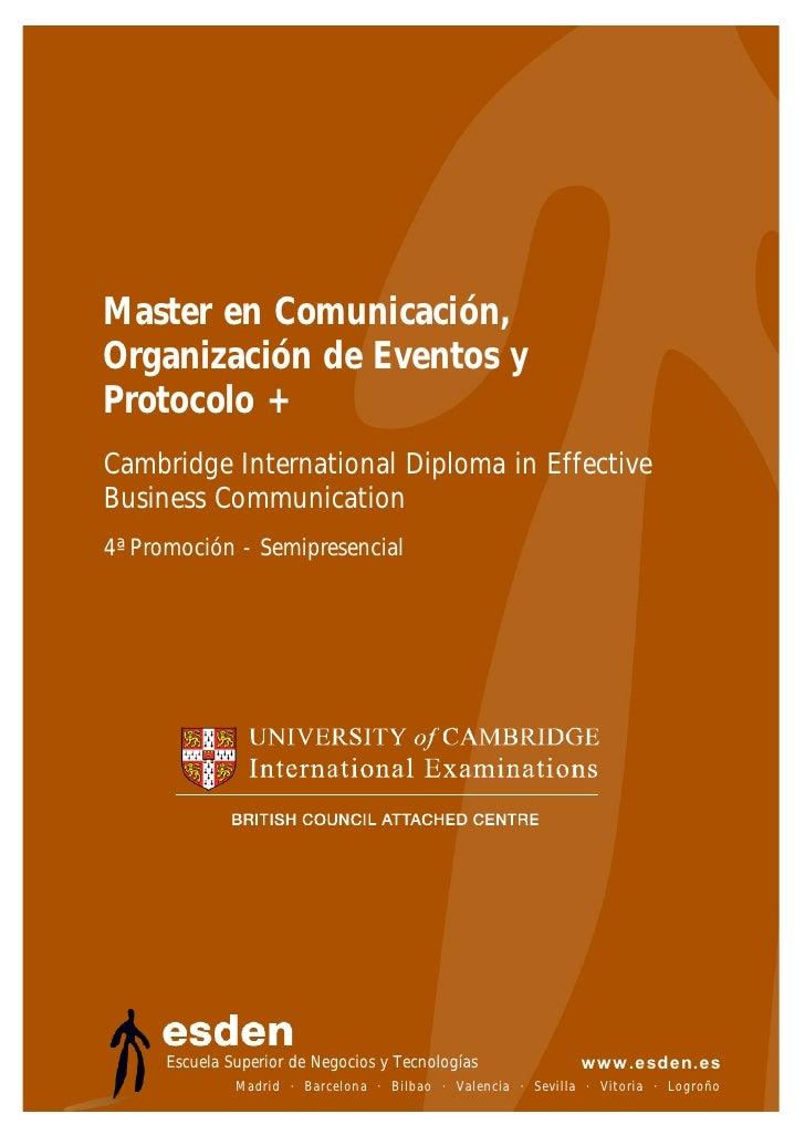 Master en Comunicación, Organización de Eventos y Protocolo de esden
