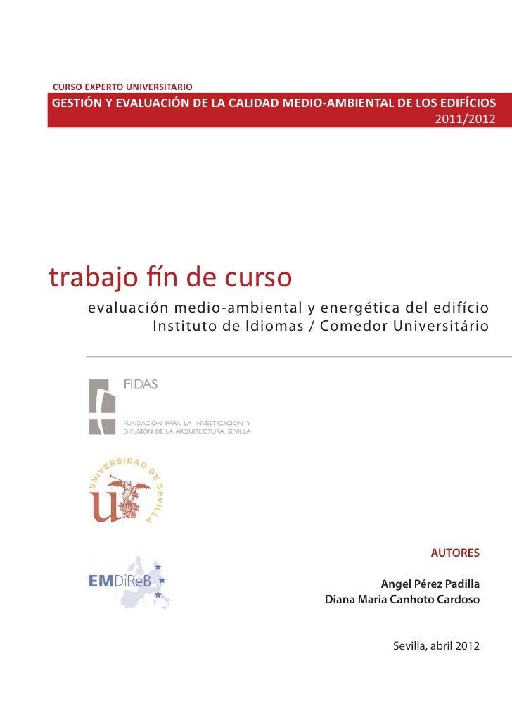 CURSO EXPERTO UNIVERSITARIOGESTIÓN Y EVALUACIÓN DE LA CALIDAD MEDIO-AMBIENTAL DE LOS EDIFÍCIOS                            ...