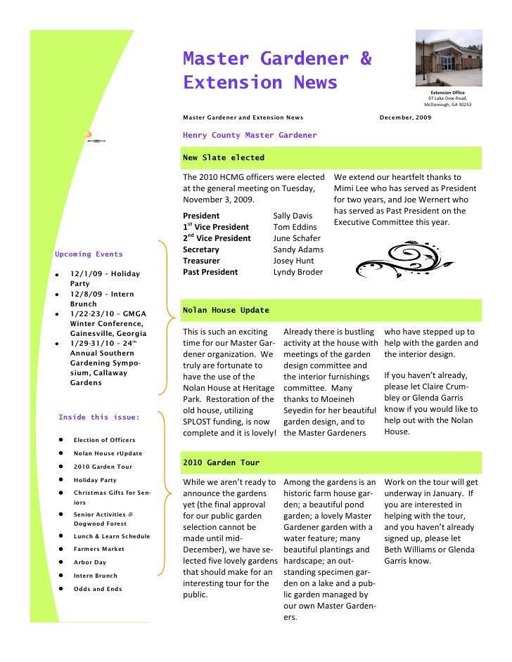 Master Gardener Dec 09 Newsletter