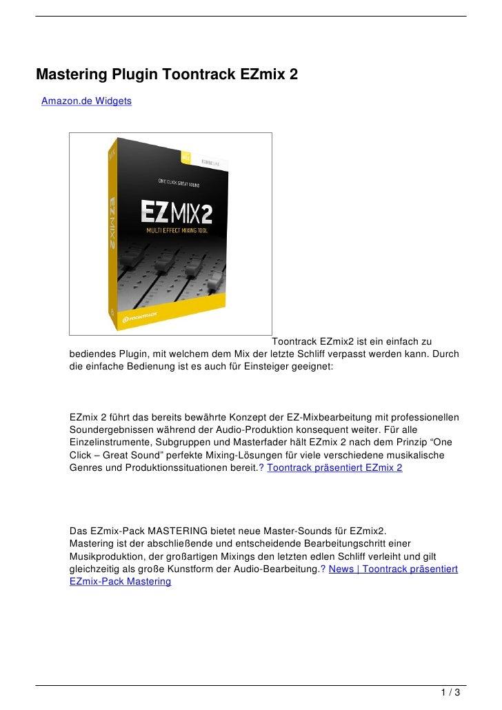 Mastering Plugin Toontrack EZmix 2Amazon.de Widgets                                                  Toontrack EZmix2 ist ...