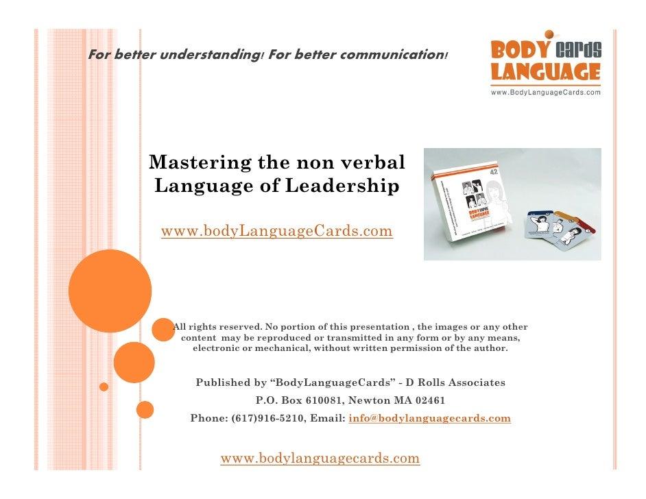 Mastering the non verbal language of leadership