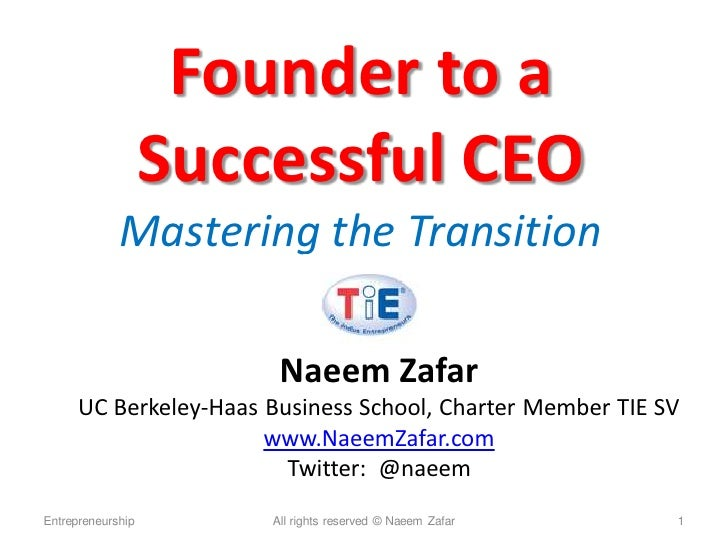Founder to a                    Successful CEO              Mastering the Transition                          Naeem Zafar ...