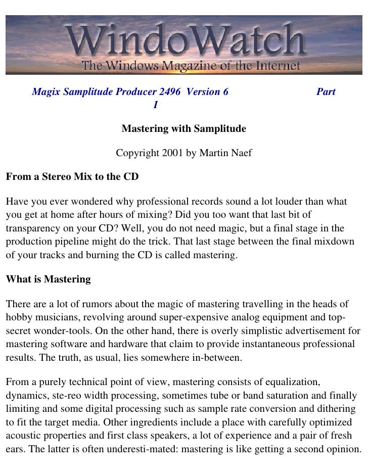 Mastering With Samplitude