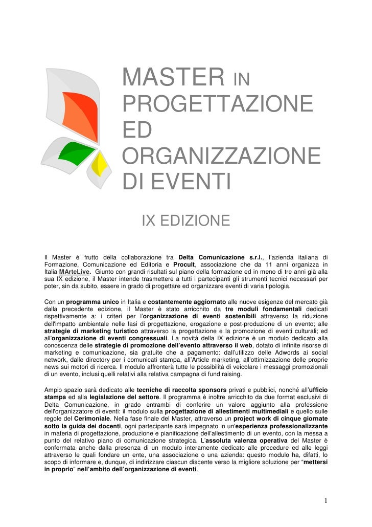 Master Progettazione Organizzazione Eventi (+stage)