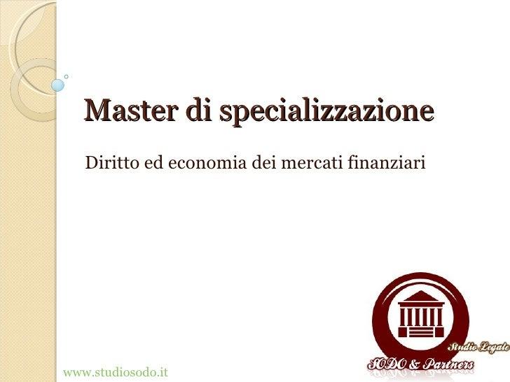 Mercati finanziari Master ipsoa 2012