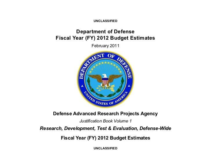 Бюджет DARPA на 2012 финансовый год