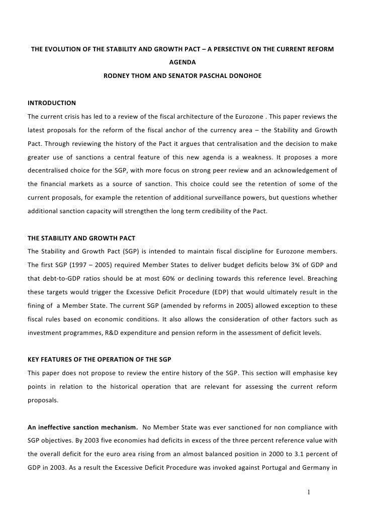 THE EVOLUTION OF THE STABILITY AND GROWTH PACT – A PERSECTIVE ON THE CURRENT REFORM                                       ...