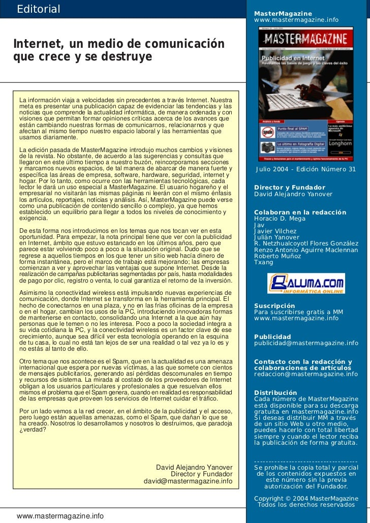 editorial mastermagazine www mastermagazine infointernet un medio de ...