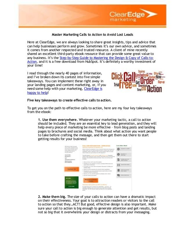 Master Marketing Calls to Action to Avoid Lost Leads