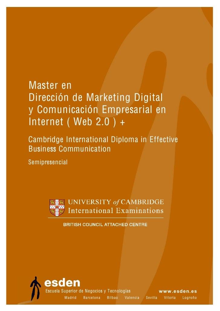 Master en Dirección de Marketing Digital y Comunicación Empresarial en Internet (Web 2.0)