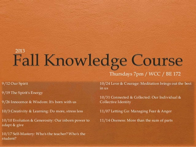 Knowledge Course (Fall 2013)