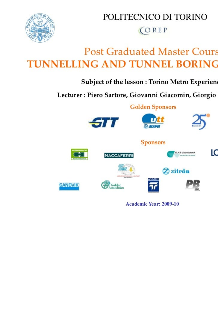 POLITECNICO DI TORINO        Post Graduated Master CourseTUNNELLING AND TUNNEL BORING MACHINES           Subject of the le...