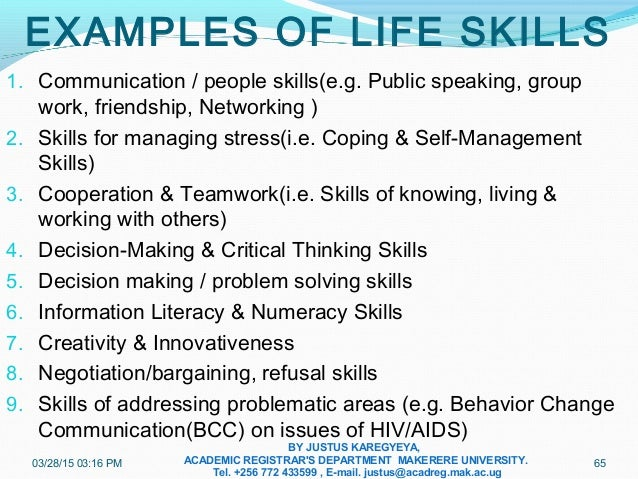 examples of life skills pdf