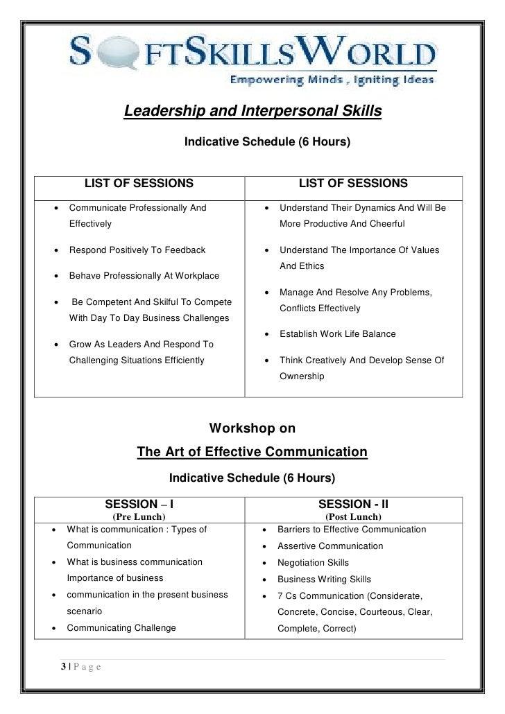 master proposal soft skills world  3 leadership and interpersonal skills