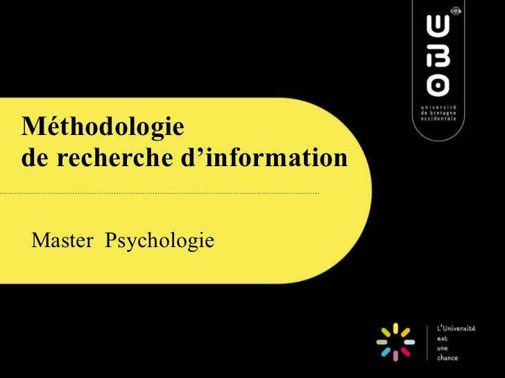 Méthodologie  de recherche d'information Master  Psychologie