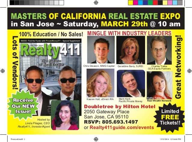 MASTERS OF CALIFORNIA REAL ESTATE EXPO in San Jose ~ Saturday, March 29th @ 10 am Limited FREE Tickets!! Doubletree by Hil...