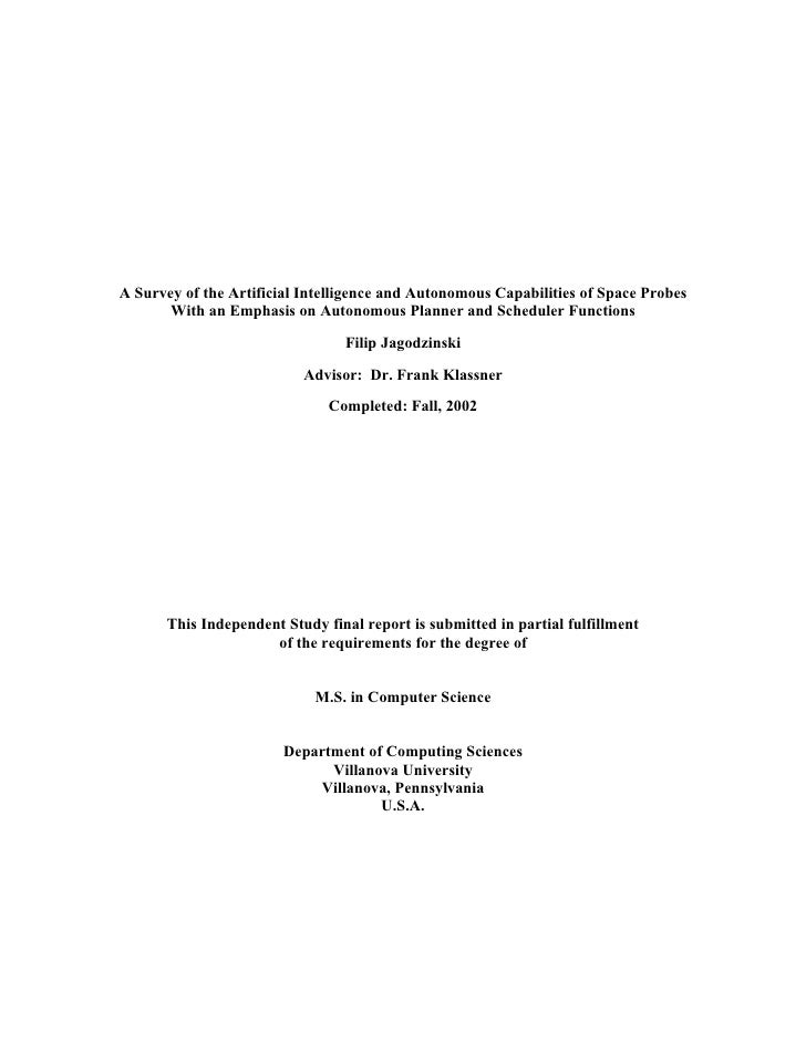 A Survey of the Artificial Intelligence and Autonomous Capabilities of Space Probes        With an Emphasis on Autonomous ...