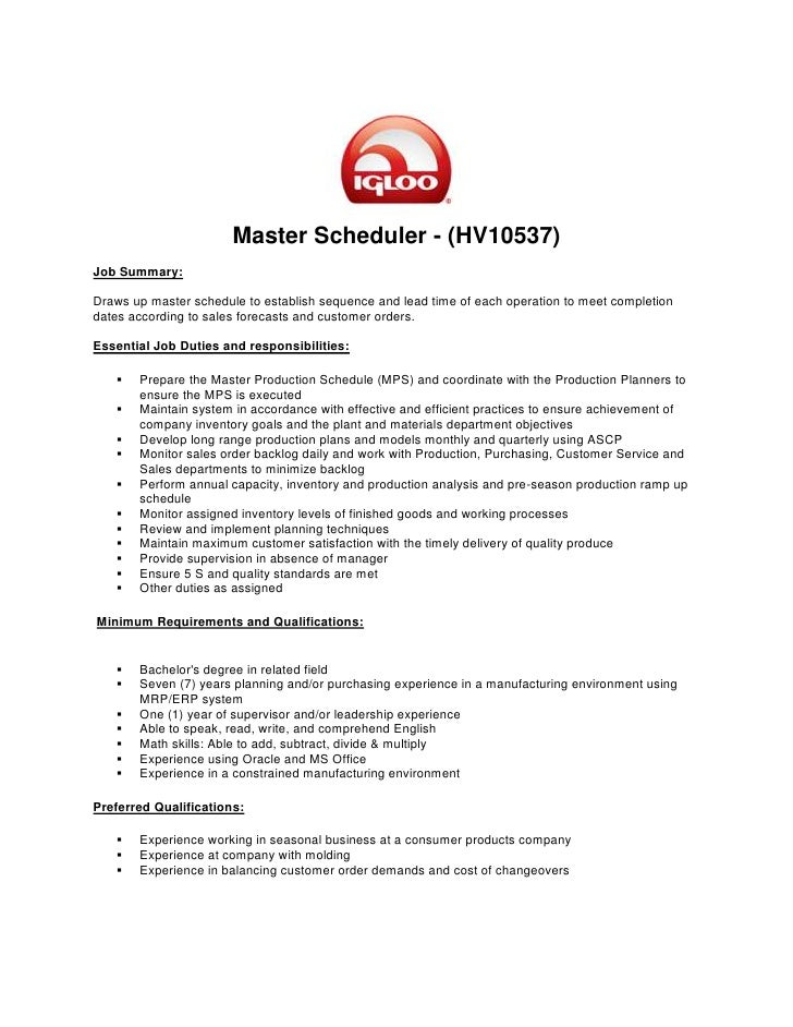 master production schedulermaster scheduler    hv  job summary draws up master schedule to establish sequence
