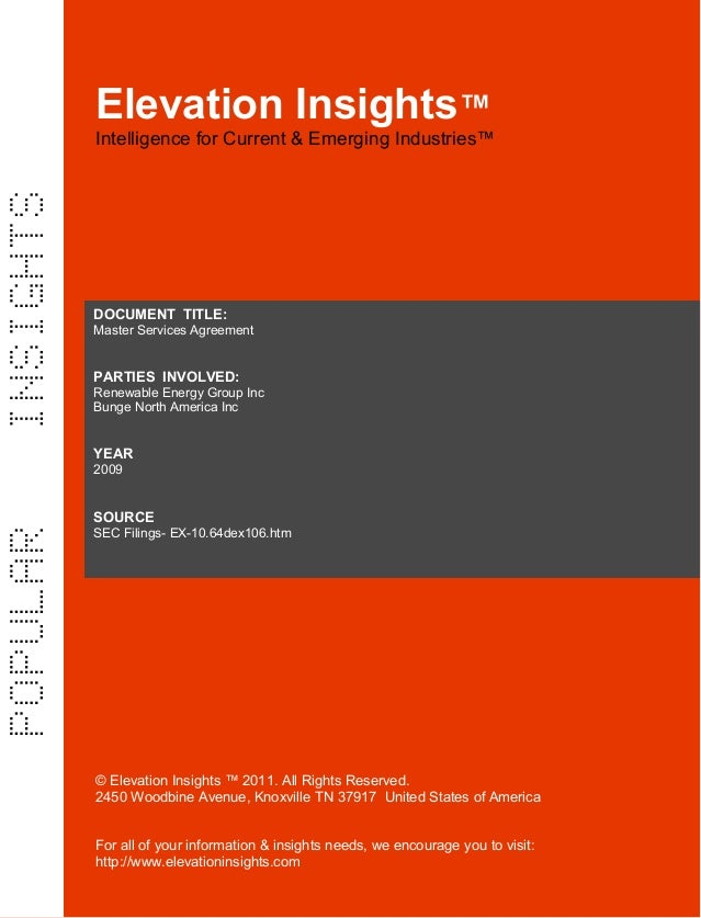Elevation Insights™   Master Services Agreement  Renewable Energy Group, Bunge